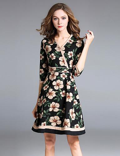 f93ef3b04da42 Kadın's Günlük Dışarı Çıkma sofistike Sokak Şıklığı A Şekilli Diz üstü Elbise  Çiçekli Yarım Kol V Yaka Sonbahar 6280806 2019 – $54.99