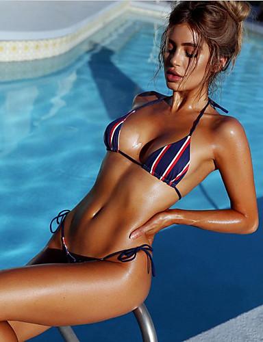 0685464ff1 Γυναικεία Δένει στο Λαιμό Ρουμπίνι Μπικίνι Μαγιό - Ριγέ Στάμπα Τ M L  Ρουμπίνι   Sexy 6318814 2019 –  10.99