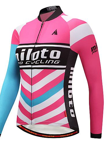 povoljno Odjeća za vožnju biciklom-Miloto Žene Dugih rukava Biciklistička majica Blue + Pink Veći konfekcijski brojevi Bicikl Biciklistička majica Majice Brdski biciklizam biciklom na cesti Sportski Zima polyster Odjeća / Rastezljivo