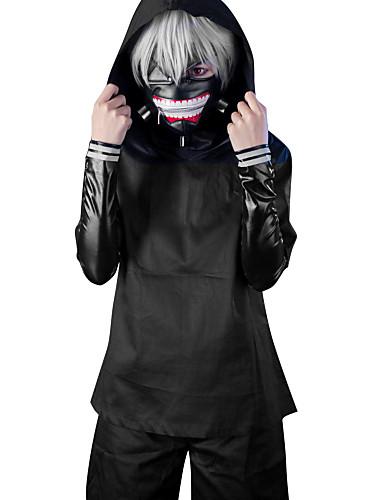 povoljno Anime cosplay-Cosplay Suits Inspirirana Tokio Ghoul Ken Kaneki Anime Cosplay Pribor Kaput Top Hlače PU koža Muškarci Žene Noć vještica / Kratke hlače / Mask / Wig / Mask / Kratke hlače