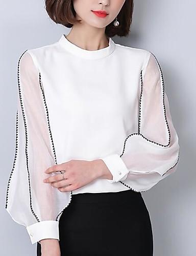 billige Skjorter til damer-Crew-hals Skjorte Dame - Ensfarget, Perler / Broderi Ut på byen Hvit / Sommer / Høst