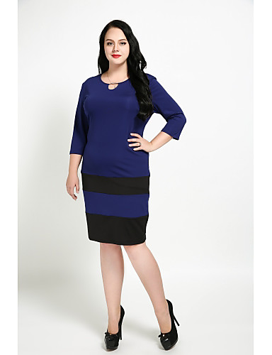 levne Šaty velkých velikostí-Dámské Větší velikosti Vintage Bavlna Tunika Šaty - Barevné bloky, Flitry Délka ke kolenům