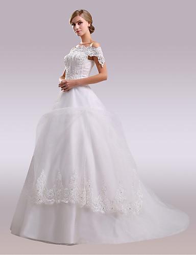 de1d8645c661 [$199.99] Corte en A Hombros Caídos Corte Satén / Tul / Encaje perlado  Vestidos de novia hechos a medida con Cuentas / Apliques / Lazo(s) por / ...