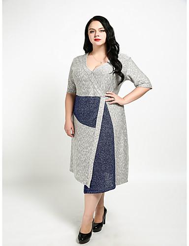 levne Šaty velkých velikostí-Dámské Větší velikosti Vintage Bavlna Pouzdro Šaty - Barevné bloky Délka ke kolenům Do V