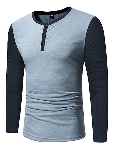 voordelige Herenoverhemden-Heren Actief Overhemd Katoen Kleurenblok Zwart / Lange mouw
