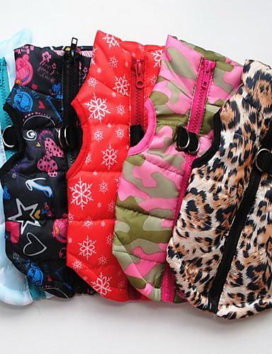 preiswerte Spielzeug & Hobby Artikel-Hund Weste Mantelgeschirr Winter Hundekleidung Schwarz Leopard Rot Kostüm Baby Kleiner Hund Baumwolle Schneeflocke Lässig / Alltäglich XS S M L