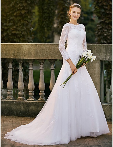 A-Line Bateau Neck Sweep / Brush Train Satin / Lace / Lace Tulle Made-To-Measure Wedding Dresses Appliques / Lace LAN TING BRIDE® / Illusion Sleeve / Beautiful Back
