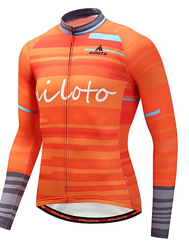 povoljno Biciklizam-Miloto Muškarci Dugih rukava Biciklistička majica žuta Bicikl Biciklistička majica Majice Brdski biciklizam biciklom na cesti Sportski Zima polyster Odjeća / Rastezljivo