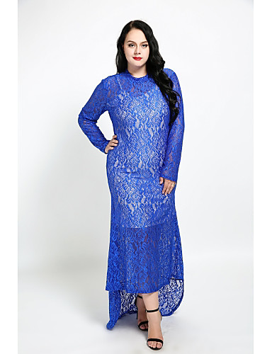 cheap Women's Dresses-Women's Lace Maxi Plus Size Red Royal Blue Dress Fall Party Sheath Solid Colored Lace XXL XXXL / Cotton