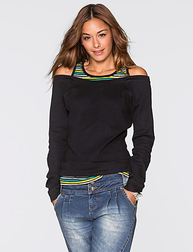 billige T-skjorter til damer-Bomull Løstsittende T-skjorte Dame - Ensfarget, Utskjæring Grunnleggende Ut på byen Grønn / fin Stripe