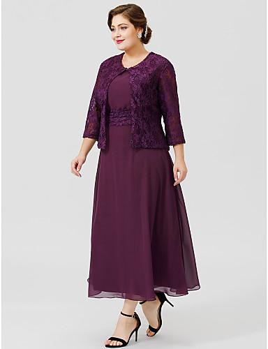 voordelige Wrap Dresses-A-lijn Scoophals Over de knie Chiffon / Bloemen en kant Bruidsmoederjurken met Sjerp / Lint / Plooien door LAN TING BRIDE® / Wrap inbegrepen