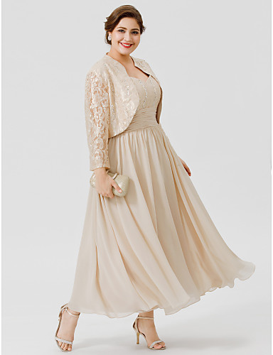 cheap Clearance-Ball Gown Straps Ankle Length / Tea Length Chiffon / Beaded Lace Sleeveless Elegant / Plus Size Mother of the Bride Dress with Ruched / Beading Mother's Day 2020