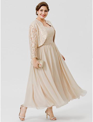 voordelige Wrap Dresses-Baljurk hihnat Over de knie / Tot de enkel Chiffon / Beaded Lace Bruidsmoederjurken met Kralen / Ruches door LAN TING BRIDE®