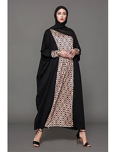 preiswerte Abayas-Damen Festtage Baumwolle Abaya Kleid - Druck Maxi