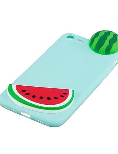 Capinha Para Apple iPhone X / iPhone 8 Plus / iPhone 8 Antichoque Capa traseira Desenho Animado / Desenhos 3D / Fruta Macia TPU