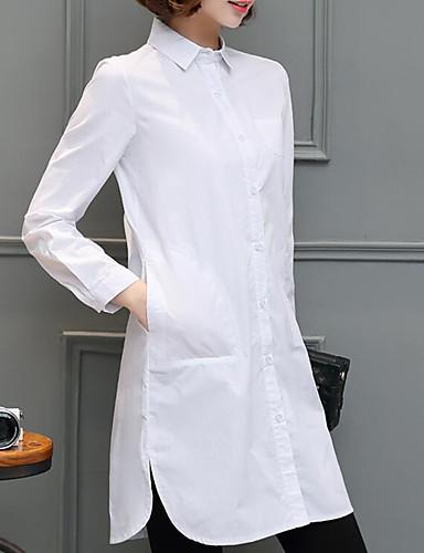 billige Dametopper-Skjortekrage Store størrelser Skjorte Dame - Ensfarget Gatemote Ut på byen Hvit