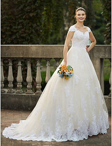 cheap Wedding Dresses-Ball Gown Wedding Dresses Square Neck Cathedral Train Lace Over Tulle Cap Sleeve Vintage Sparkle & Shine with Beading Appliques 2020