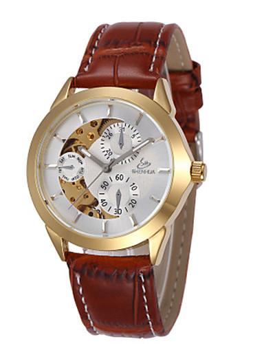 Ανδρικά Διάφανο Ρολόι μηχανικό ρολόι Αυτόματο κούρδισμα Συνθετικό δέρμα με επένδυση Μαύρο / Κόκκινο / Καφέ 30 m Ανθεκτικό στο Νερό Εσωτερικού Μηχανισμού Αναλογικό