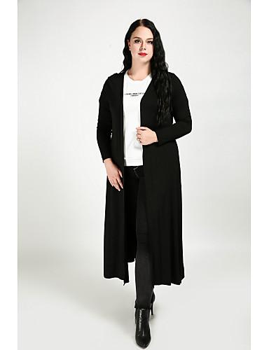 levne Dámské kabáty a trenčkoty-Dámské Jednobarevné Šik ven Větší velikosti Maxi, Trenčkot - Bavlna Velkoformátové
