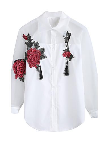 billige Skjorter til damer-Skjortekrage Skjorte Dame - Broderi, Dusk / Broderi Gatemote Ut på byen Hvit / Vår / Sommer