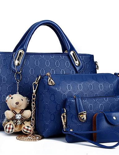 cheap 11.11 - Women's Bags Best Seller-Women's Zipper PU Bag Set Bag Sets 4 Pieces Purse Set Black / Yellow / Blue