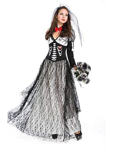 povoljno Maske i kostimi-Nevjesta Bloody Mary Kostim Žene Halloween Dan mrtvih Festival / Praznik Polyster Crn Žene Karneval kostime Dungi Vintage / Šeširi / Neckwear