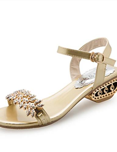 billige Shoes & Bags Must-have-Dame Sandaler Åpen Tå Rhinsten / Imitasjonsperle / Spenne PU Komfort / Gladiator Vår / Sommer Gull / Svart / Sølv / EU39