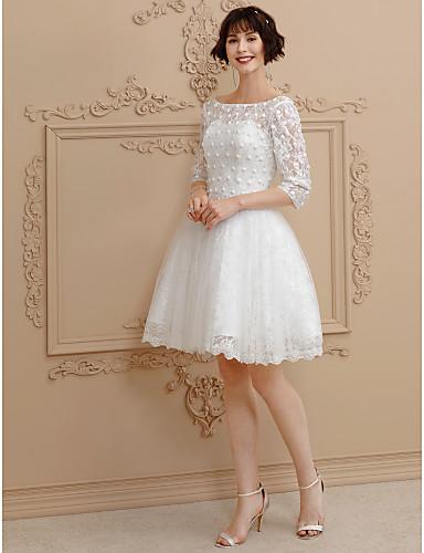 e3b6054827 Báli ruha Bateau nyak Rövid / mini Csipke / Tüll Made-to-measure esküvői  ruhák val vel Gyöngydíszítés / Csipke által LAN TING BRIDE® / Illúzió / Kis  fehér ...
