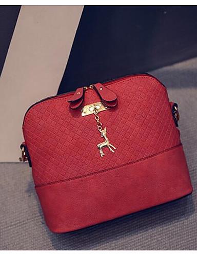 preiswerte Elegante Taschen für Damen-Damen Reißverschluss PU Schultertasche Schwarz / Rote / Grau