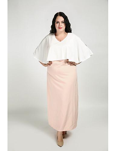 levne Šaty velkých velikostí-Dámské Větší velikosti Šik ven Netopýří rukávy Shift Šaty - Barevné bloky Maxi Do V