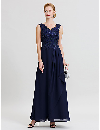 cheap Free Shipping-Sheath / Column Mother of the Bride Dress Elegant Sparkle & Shine V Neck Floor Length Chiffon Beaded Lace Sleeveless with Pleats Beading 2020