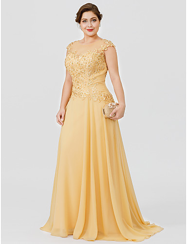 cheap Mother of the Bride Dresses-A-Line Illusion Neck Sweep / Brush Train Chiffon / Beaded Lace Short Sleeve Elegant / Plus Size Mother of the Bride Dress with Bow(s) / Pleats Mother's Day 2020 Mother of the groom dresses