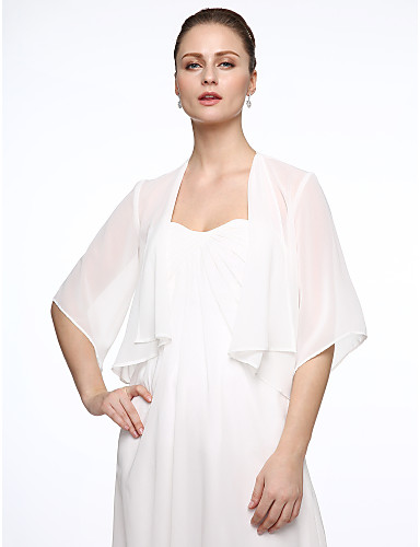 cheap Wedding Wraps-Half Sleeve Coats / Jackets Chiffon / Polyester Wedding / Party / Evening Women's Wrap / Bolero With Draping / Embroidery / Solid