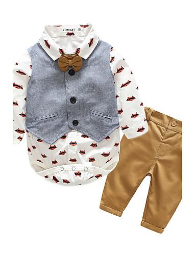 preiswerte Babykleidung-Set-Baby Jungen Alltag Druck Langarm Baumwolle Kleidungs Set Marineblau