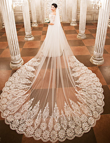 One-tier Wedding Veil Cathedral Veils With Appliques Lace