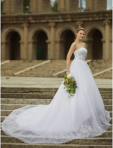 c7cf92b082b Ball Gown Strapless Cathedral Train Satin   Tulle   Beaded Lace  Made-To-Measure Wedding Dresses with Beading   Appliques by LAN TING BRIDE®    Sparkle ...