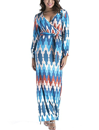 7291e28a6559f Women s Plus Size Holiday Boho Sheath Dress - Color Block Print High Rise  Maxi V Neck   Spring   Fall 6297103 2019 –  23.09