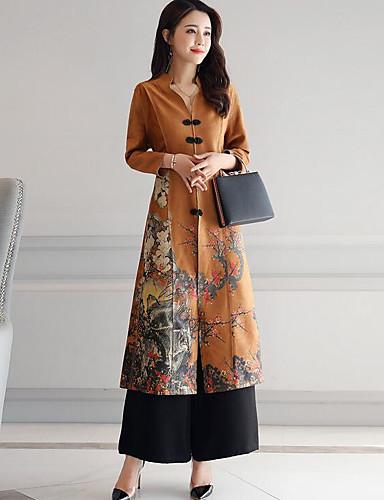 4499 žene Pamuk Korice Haljina Print V Izrez Maxi Jesen Zima