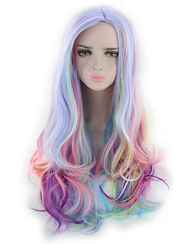 preiswerte Lolita Perücken-Synthetische Perücken / Perücken Wellen / Natürlich gewellt Kardashian Stil Kappenlos Perücke Blau Regenbogen Synthetische Haare Damen Blau / Rosa / Lila Perücke Lang