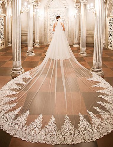 voordelige Koninklijke trouwjurken-Eénlaags Bruidssluiers Kathedraalsluiers met Appliqués Kant / Tule / Engelgeknipt / Waterval