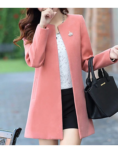 Women's Going out Fall / Winter Regular Coat, Solid Colored Round Neck Long Sleeve Polyester Yellow / Blushing Pink / Fuchsia
