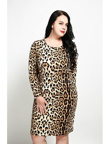 levne Šaty velkých velikostí-Dámské Větší velikosti Vintage Pouzdro Šaty - Leopard Délka ke kolenům
