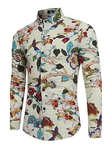 levne Pánské košile-Pánské - Květinový Košile Bavlna Štíhlý Černá / Dlouhý rukáv