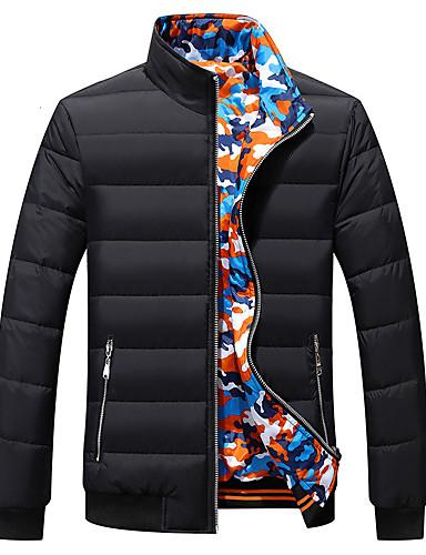 levne Pánské kabáty a parky-Pánské Práce Dlouhý kabát - Jednobarevné