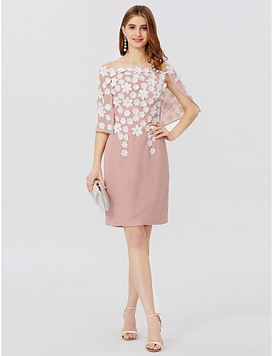preiswerte Hochzeiten & Feste-Eng anliegend Schulterfrei Kurz / Mini Chiffon Cocktailparty Kleid mit Blume / Plissee durch TS Couture®