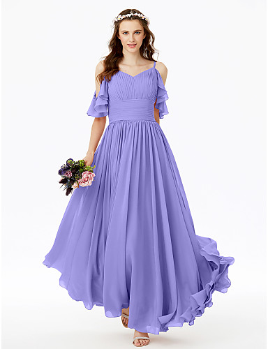 cheap Bridesmaid Dresses-A-Line Spaghetti Strap Floor Length Chiffon Bridesmaid Dress with Sash / Ribbon / Bow(s) / Pleats / Open Back