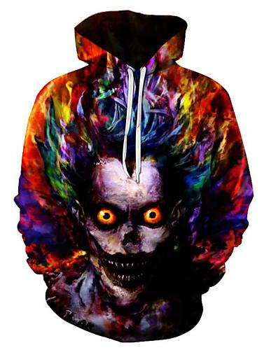 voordelige Uitverkoop-Heren Grote maten Punk & Gothic Lange mouw Ruimvallend Hoodie & sweatshirt 3D / Doodskoppen Capuchon / Herfst / Winter