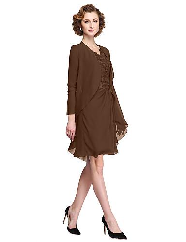 A-line คอวี เสมอเข่า ชิฟฟอน / Corded Lace แม่ของชุดเจ้าสาว กับ เข็มกลัด โดย LAN TING BRIDE® / ภาพลวงตา