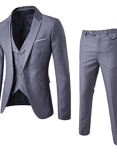 preiswerte Ausverkauf-Herrn Arbeit Standard Anzüge, Solide Hemdkragen Langarm Baumwolle / Polyester Wein / Leicht Blau / Königsblau / Schlank