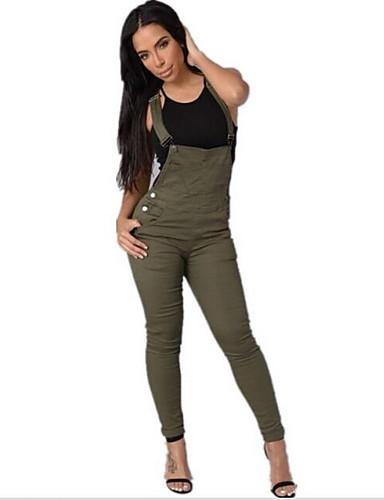 preiswerte Entworfen wegen der Eleganz-Damen Alltagskleidung Street Schick Gurt Weiß Grün Overall Einteiler S M L Hohe Taillenlinie Baumwolle Ärmellos Herbst